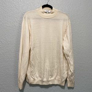 Turnbury Merino Wool Mockneck Ivory Sweater